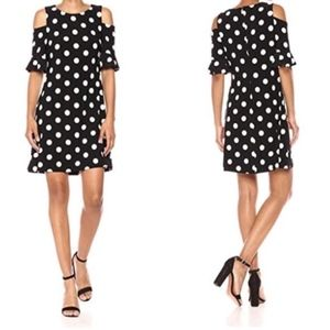 Tommy Hilfiger Polka Dot Cold Shoulder Dress